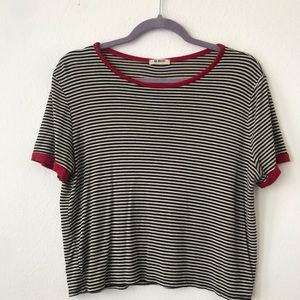 Tops - Cropped Striped black white and red t shirt